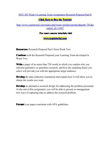 QNT 565 Week 4 Learning Team Assignment Research Proposal Part II