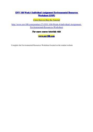 ENV 100 Week 4 Individual Assignment Environmental Resources Worksheet (UOP).pdf