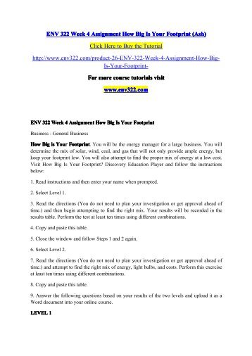 Env 322 Week 4 Assignment How Big Is Your Footprintpdf