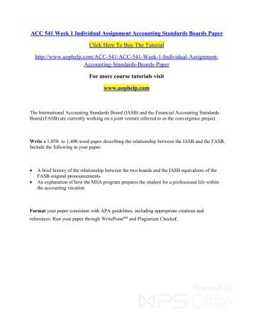 Accounting 541 individual assignment reporting paper