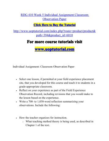 edu week individual assignment classroom observation and  rdg 410 week 5 individual assignment classroom observation paper pdf