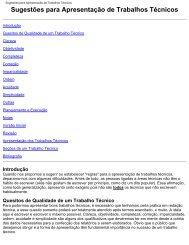 Sugestões para Apresentação de Trabalhos Técnicos