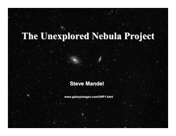 The Unexplored Nebula Project
