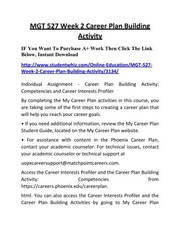 my career plan building activity Career plan building activities) respond to the following in 50 to 100 words each: 1describe one academic goal that you have created using the smart criteria the  professional or career goal you created in week two based on the career plan building activities results from the my career.