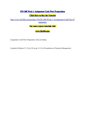 fin 200 cash flow preparation