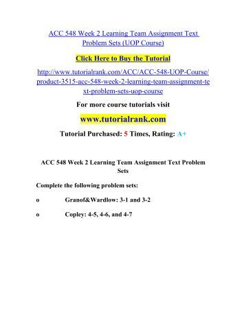 acc 400 week 5 team assignment Acc 400 entire course link    acc 400 week 1 assignment from the textbook  acc 400 week 5 assignment from the textbook complete the following activities from the financial & managerial accounting.