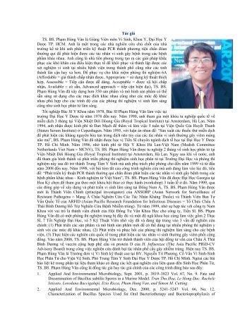 Tác giả TS. BS. Phạm Hùng Vân là Giảng Viên môn Vi Sinh ... - vsmmb