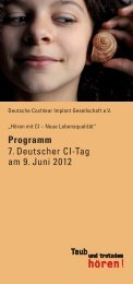 Programm - Deutsche Cochlear Implant Gesellschaft e.V.