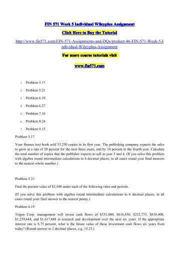 fin 571 week 5 individual study Find fin571 study guides, notes, and practice tests from  5 pages fin 571  week 4 individual assignment ongko furniture store analysis university of.