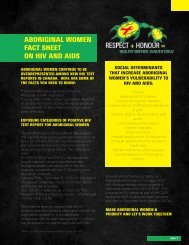 aboriginal Women Fact Sheet on hiv anD aiDS