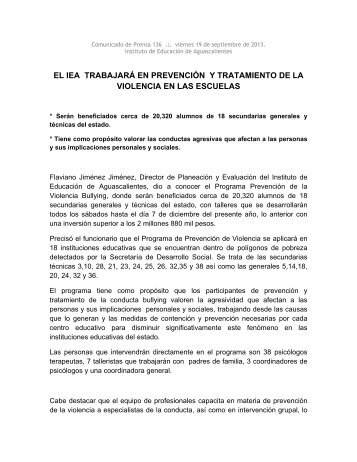 EL IEA TRABAJARÁ EN PREVENCIÓN Y TRATAMIENTO DE LA VIOLENCIA EN LAS ESCUELAS