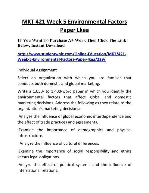 MKT 421 Week 5 Environmental Factors Paper Lkea University of