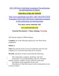 ART 100 Week 3 Individual Assignment The performing Art and Inspiration (2 Papers)/TutorialRank