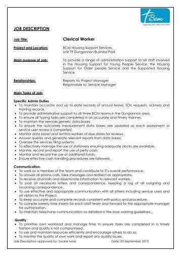job description form general description work experience codan