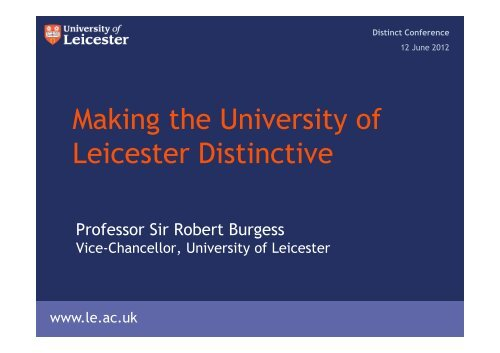 Making the University of Leicester Distinctive