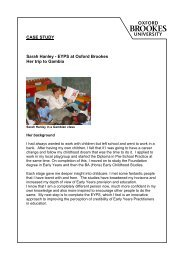 CASE STUDY Sarah Hanley - EYPS at Oxford Brookes Her trip to Gambia