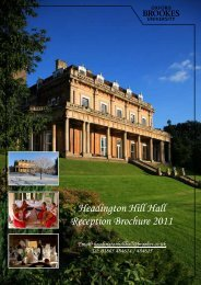 Headington Hill Hall Reception Brochure 2011