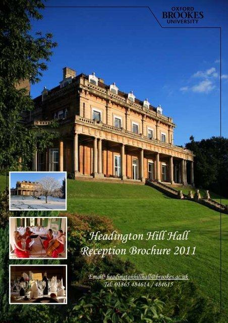 Headington Hill Hall Reception Brochure 2011