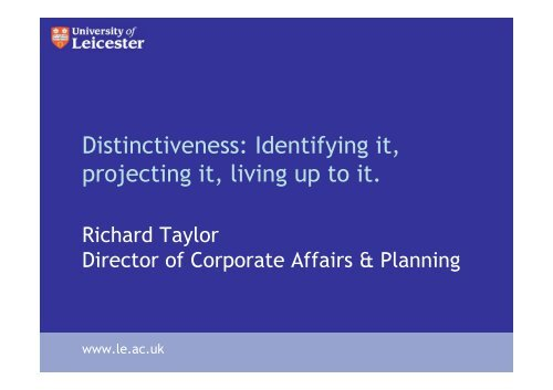 Distinctiveness Identifying it projecting it living up to it