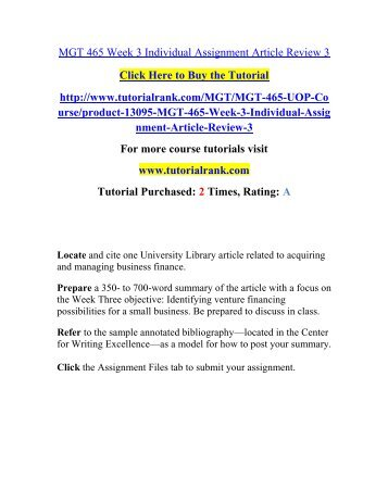 week 3 article review assignment Article review paper select two professional and or scholarly journal articles from the ashford university library that relate to your research topic week assignment.