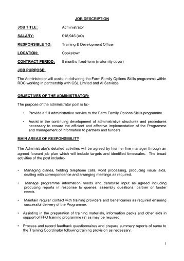 Education Administrator Job Description YearRound    First Stage