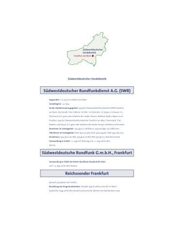 Südwestdeutscher Rundfunkdienst A.G. (SWR) Südwestdeutsche ...