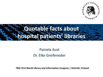 Quotable facts about hospital patients' libraries - IFLA