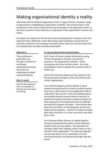 Making organisational identity a reality