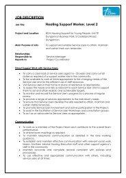 JOB DESCRIPTION Floating Support Worker Level 2