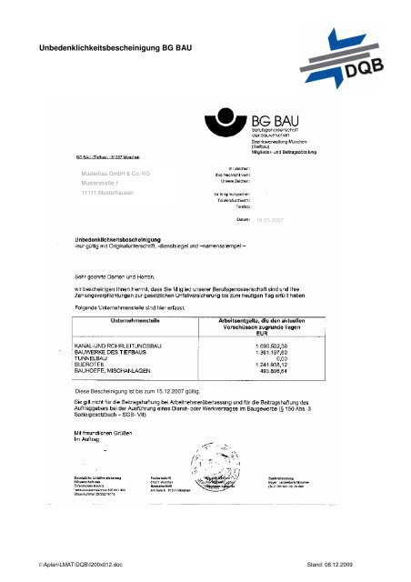Musterbau GmbH & Co. KG Musterhausen - DQB Deutsche ...