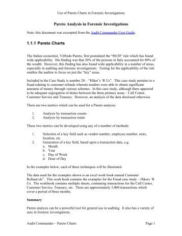 Using Pareto Charts in Forensic Audits - EZ-R Stats, LLC