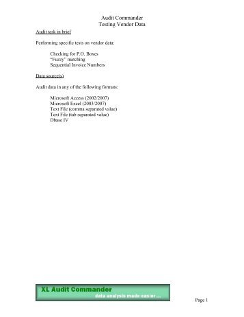 Audit Commander Testing Vendor Data