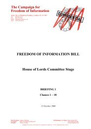 Lords committee stage - Campaign for Freedom of Information