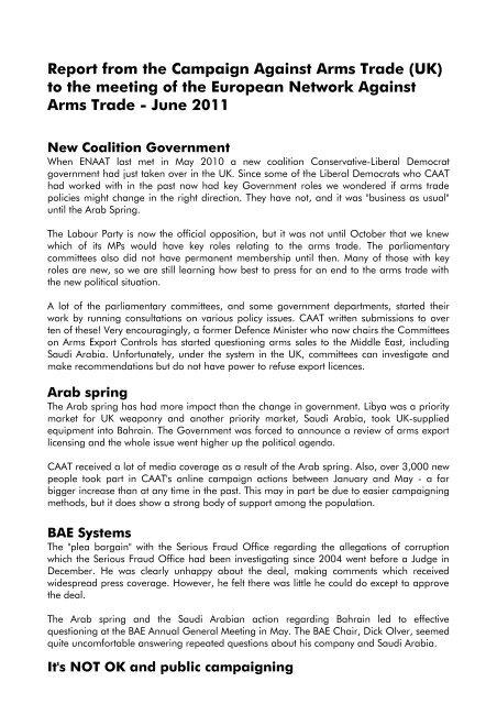 2011 - European Network Against Arms Trade