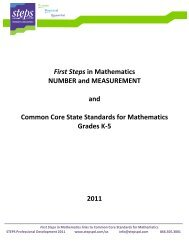 First Steps in Mathematics NUMBER and ... - acesmspcohort