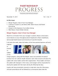In this issue: Merger Progress: Hear It From Your Manager