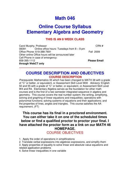 Math 046 Online Course Syllabus Elementary Algebra and Geometry