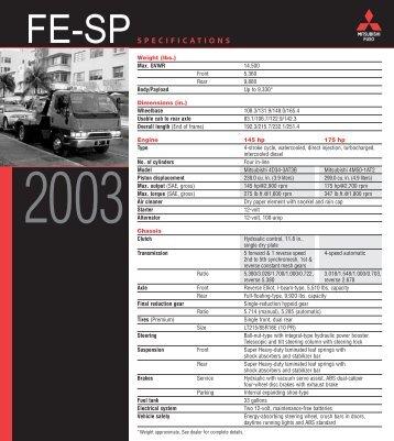 SPECIFICATIONS - Mitsubishi Fuso