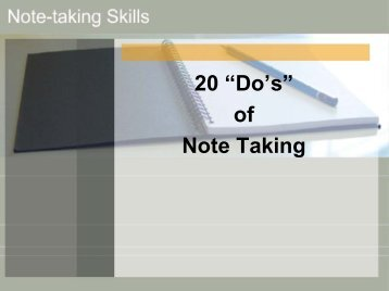 "20 ""Do's"" of Note Taking"
