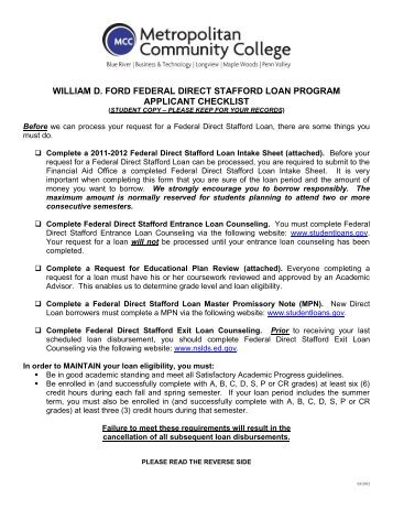 william d ford federal direct stafford loan program applicant. Cars Review. Best American Auto & Cars Review