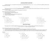 SOLVING QUADRATIC EQUATIONS Factoring Method Square Root Property