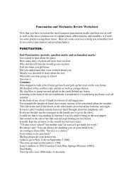 Punctuation and Mechanics Review Worksheet