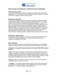 AB Connectors Ltd Statement on RoHS EU Directive 2002/95/EC
