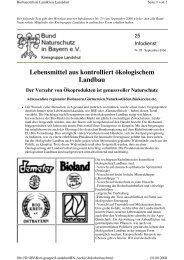 Lebensmittel aus Öko-Anbau - Kreisgruppe Landshut des Bund ...
