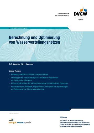 Programm und Anmeldung - DVGW - Deutscher Verein des Gas