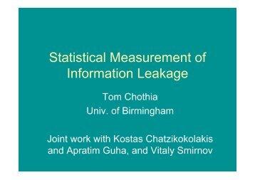Statistical Measurement of Information Leakage