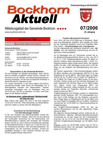 Mitteilungsblatt der Gemeinde Bockhorn 07/2006