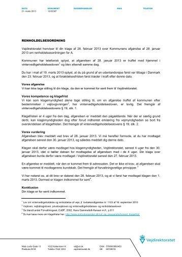 Se Vejdirektoratets afgørelse af 21. marts 2013 - Nohr-Con