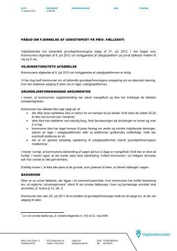 Påbud om fjernelse af udsigtspost på priv. fællessti her - Nohr-Con