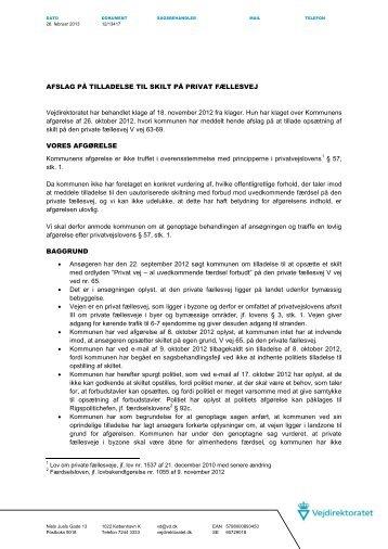 12-13417 afslag på tilladelse til skilt på privat fællesvej - Nohr-Con